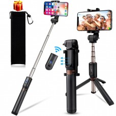 kungfuren Selfie Stick Upgrated Aluminum iPhone Tripod with Detachable Bluetooth Remote Camera Shutter