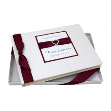 kungfuren Personalised, Boxed Condolence Book - Diamante Heart Design