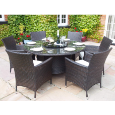 kungfuren Garden or Conservatory Round Dining Table and 6 Chairs Furniture Set