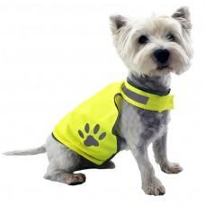 kungfuren Hundeweste – Warnweste zum Schutz für kleine bis mittlere Hunde – Signalweste per Klettverschluss größenverstellbar – Reflektorweste neon-gelb reflektierend