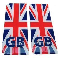 kungfuren GB Number Plate Sticker Decal Badge UK Union Jack Flag 3d Resin Gel Domed