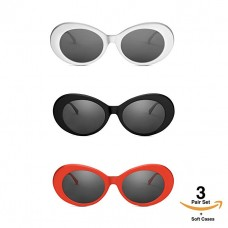 kungfuren Clout Goggles Set With Soft Cases- Kurt Cobain Oval Sunglasses White, Black, Red