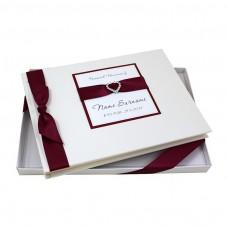 kungfuren Personalised, Boxed Condolence Book - Diamante Heart Design