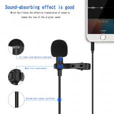 kungfuren Condenser Microphone Recording Clip on Mini Mic for iPhone and Android Phone, Tablet & PC with 1.5 Meter Cable