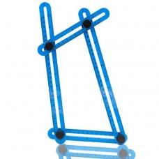 kungfuren Angle izer, Winkelschablone, Multiwinkel, Messlineal, Messgerät mit Metallschraubengewinde für alle Formen, mit Tragetasche, wichtige Ergänzung für jeden Werkzeugkasten, Blau