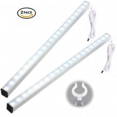 kungfuren 5W USB LED Unterbau-Leuchte, Schrankleuchte, Tischlampe, tragbare Licht, Schranklampe, Wandleuchten, Spiegellampe, Spiegelleuchte (kühles Weiß) (2 Pack)