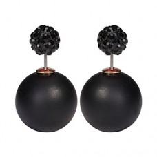 kungfuren New Original Hand Finished Swarovski Elements Black Silver Double Pearl Drop Earring Gift Matte Pattern