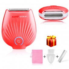 Ladies Shaver, kungfuren【2018 UPGRATED】 USB Rechargeable Waterproof electric shavers for women Wet/Dry Use Hair Razor, Painless Razor - RED